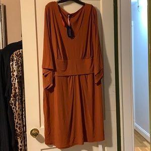 Anna Scholz V-Neck Dress with Draped Sleeves